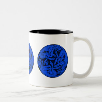 Three Dogs Entwined Two-Tone Coffee Mug
