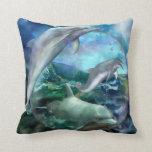Three Dolphins Art Designer Pillow