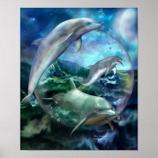 Three Dolphins Art Poster/Print
