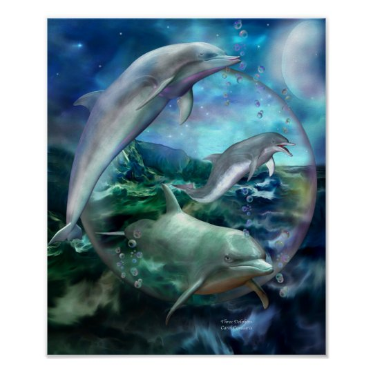Three Dolphins Art Poster/Print Poster