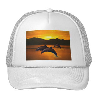 Three dolphins at sunset mesh hat