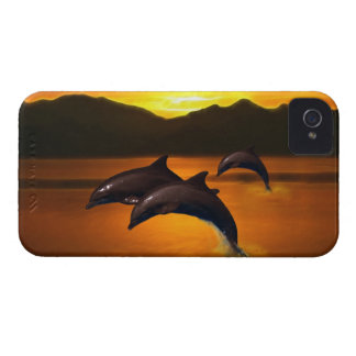 Three dolphins at sunset iPhone 4 case