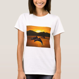 Three dolphins at sunset T-Shirt
