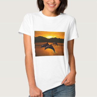 Three dolphins at sunset tee shirt