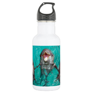 Three Dolphins in the ocean 18oz Water Bottle