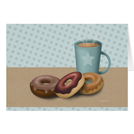 Three doughnuts and a coffee greeting cards