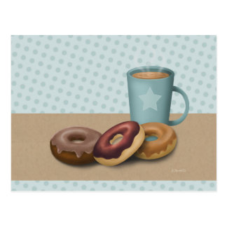 Three doughnuts and a coffee post card
