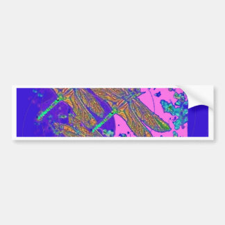 Three Dragonflies Sea Foam Art by Sharles Bumper Sticker