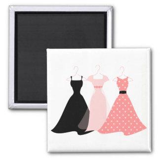 Three Dresses 2 Inch Square Magnet