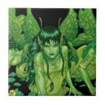 Three Earth Fairies Fantasy Art by Al Rio Ceramic Tile
