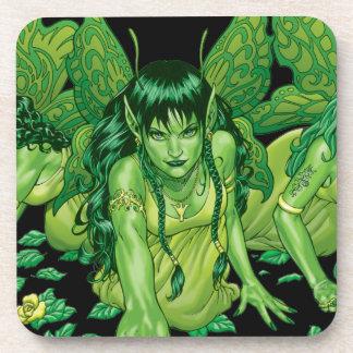Three Earth Fairies Fantasy Art by Al Rio Drink Coaster