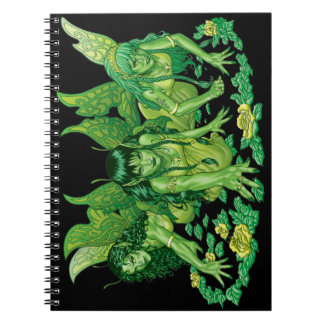 Three Earth Fairies Fantasy Art by Al Rio Notebook