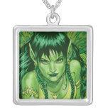 Three Earth Fairies Fantasy Art by Al Rio Silver Plated Necklace