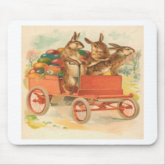 Three Easter Bunnies With Eggs Mouse Mats