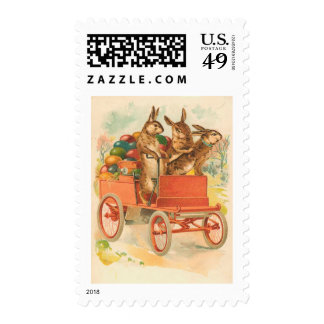 Three Easter Bunnies With Eggs Postage Stamps