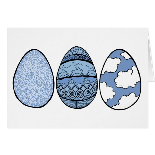 Three Easter Eggs Blue Card