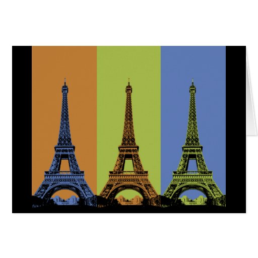 Three Eiffel Towers in Paris Cards