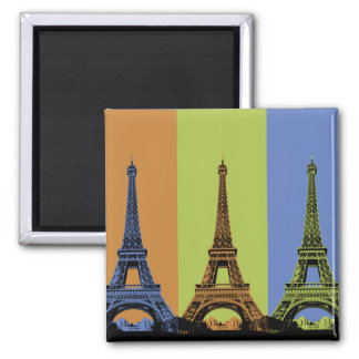 Three Eiffel Towers in Paris 2 Inch Square Magnet