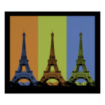 Three Eiffel Towers in Paris Poster