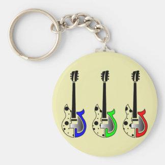 Three Electric Guitars - Neon Pop Art Key Chain