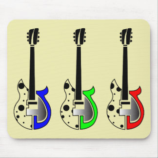 Three Electric Guitars - Neon Pop Art Mouse Pads