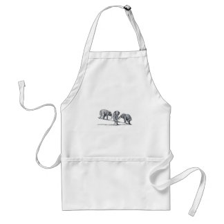 Three Elephants on a seesaw Vintage Animal Art Adult Apron