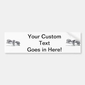 Three Elephants on a seesaw Vintage Animal Art Bumper Sticker