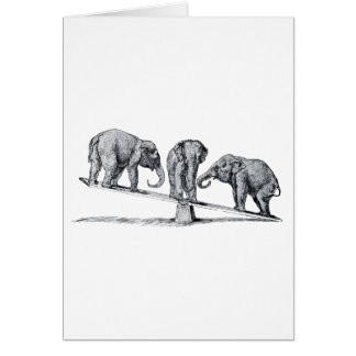Three Elephants on a seesaw Vintage Animal Art Greeting Cards