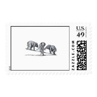 Three Elephants on a seesaw Vintage Animal Art Stamps