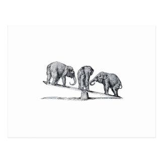 Three Elephants on a seesaw Vintage Animal Art Postcards