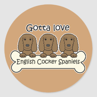 Three Englis Cocker Spaniels Round Stickers