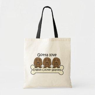 Three Englis Cocker Spaniels Tote Bag