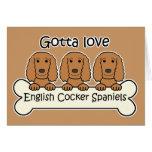 Three English Cocker Spaniels Greeting Cards