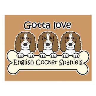 Three English Cocker Spaniels Postcard