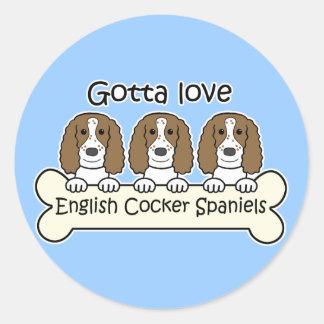 Three English Cocker Spaniels Round Stickers