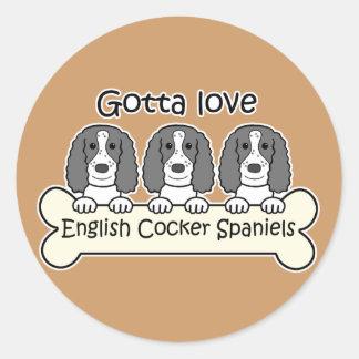 Three English Cocker Spaniels Round Sticker