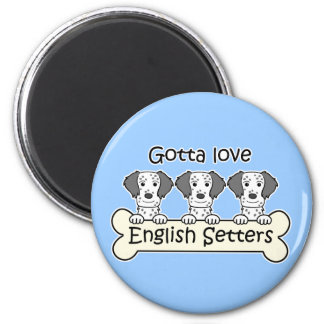 Three English Setters 2 Inch Round Magnet