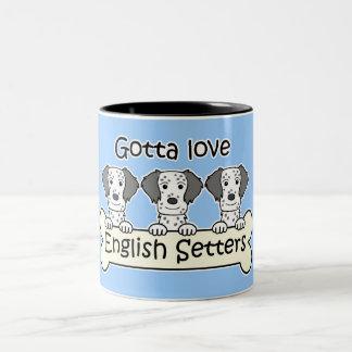 Three English Setters Two-Tone Coffee Mug
