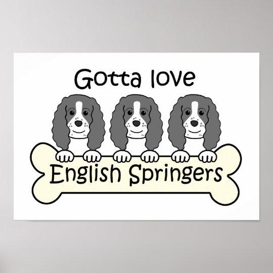 Three English Springer Spaniels Poster