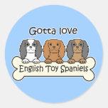 Three English Toy Spaniels Classic Round Sticker
