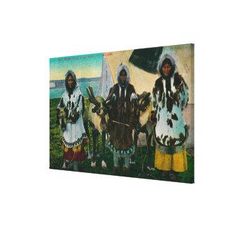 Three Eskimo Beauties and Sled ReindeerState Canvas Print
