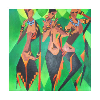 Three Ethnic Traditional Black Women Dancing Canvas Print