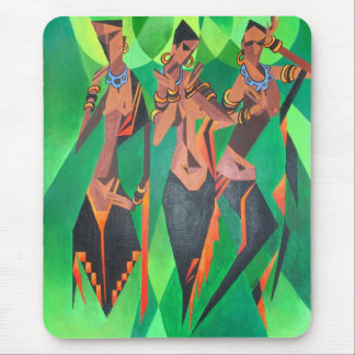 Three Ethnic Traditional Black Women Dancing Mouse Pad