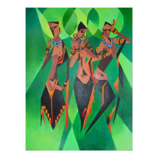 Three Ethnic Traditional Black Women Dancing Poster