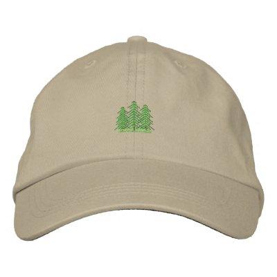 Three Evergreens Embroidered Hat