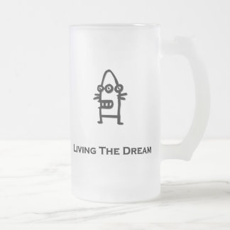 Three Eye Bot Living The Dream Black Frosted Glass Beer Mug