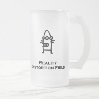Three Eye Bot Reality Distortion Field black Frosted Glass Beer Mug