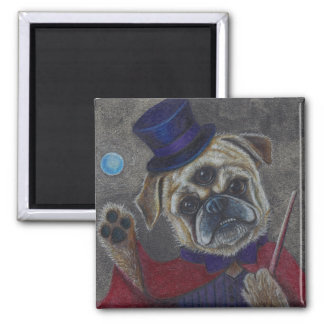 Three Eye Pug Doing Magic Show Art Print 2 Inch Square Magnet
