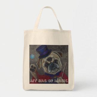 Three Eye Pug Doing Magic Show Art Print Grocery Tote Bag