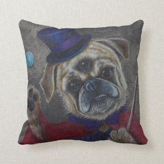 Three Eye Pug Doing Magic Show Art Print Throw Pillow